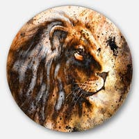 Designart 'Lion Collage' Animal Glossy Large Disk Metal Wall Art