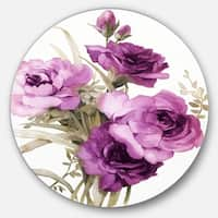 Designart 'Bunch of Purple Flowers' Floral Glossy Large Disk Metal Wall Art