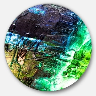 Designart 'Green, Blue Abstract Structure' Abstract Glossy Large Disk Metal Wall Art