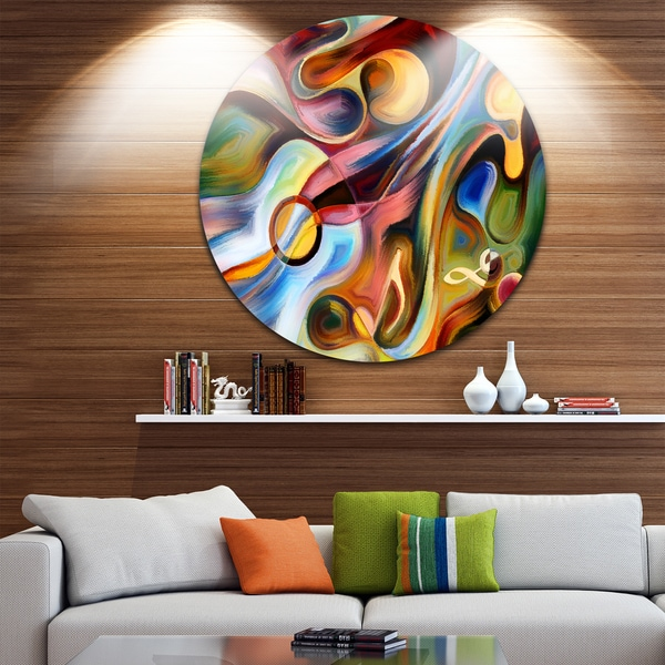 Designart 'Music beyond the Frames' Music Abstract Glossy Large Circle Metal Wall Art