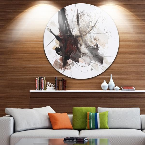 Designart 'Artistic Splash' Landscape Glossy Large Disk Metal Wall Art