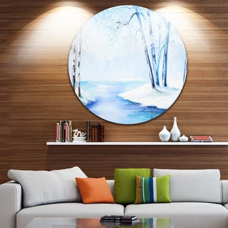 Designart 'River in Snowy Winter' Landscape Large Glossy Metal Wall Art
