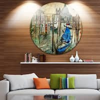 Designart 'Beautiful Venice' Landscape Glossy Large Disk Metal Wall Art