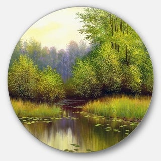 Designart 'Green Summer with River' Landscape Glossy Large Disk Metal Wall Art