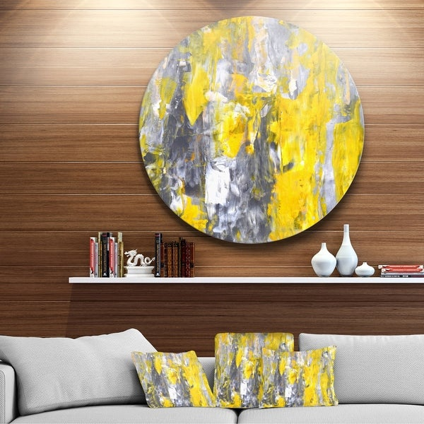 Designart X27 Grey And Yellow Abstract Pattern Glossy Large