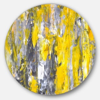 Designart 'Grey and Yellow Abstract Pattern' Abstract Glossy Large Circle Metal Wall Art