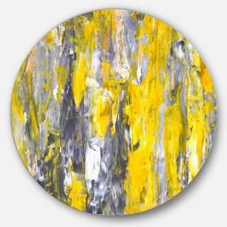 Designart 'Grey and Yellow Abstract Pattern' Abstract Glossy Large Circle Metal Wall Art