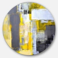 Designart 'Grey and Yellow Blur Abstract' Abstract Glossy Large Circle Metal Wall Art