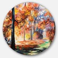 Designart 'Fall Trail in Forest' Landscape Glossy Metal Wall Art