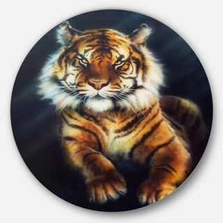 Designart 'Mighty Tiger' Animal Glossy Large Disk Metal Wall Art
