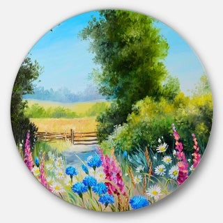 Designart 'World of Flowers' Floral Glossy Metal Wall Art