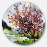 Designart 'Tree with Spring Flowers' Floral Glossy Metal Wall Art