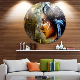Designart 'Indian Woman with Headdress' Portrait Glossy Large Disk Metal Wall Art