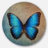 Designart 'Blue Vintage Butterfly' Floral Glossy Large Disk Metal Wall Art