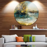 Designart 'Trees by the Lake' Landscape Glossy Large Disk Metal Wall Art
