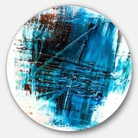 Designart 'Abstract Blue Structure Art' Abstract Glossy Metal Wall Art