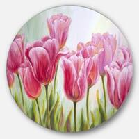 Designart 'Tulips in a Row' Floral Glossy Large Disk Metal Wall Art