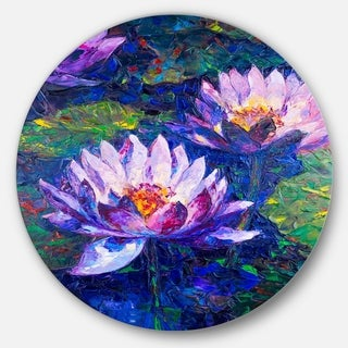 Designart 'Blue Lotus Oil Painting' Floral Glossy Large Disk Metal Wall Art
