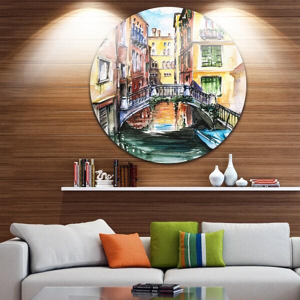 Designart 'Venice, Canal Meeting Bridge' Cityscape Glossy Metal Wall Art
