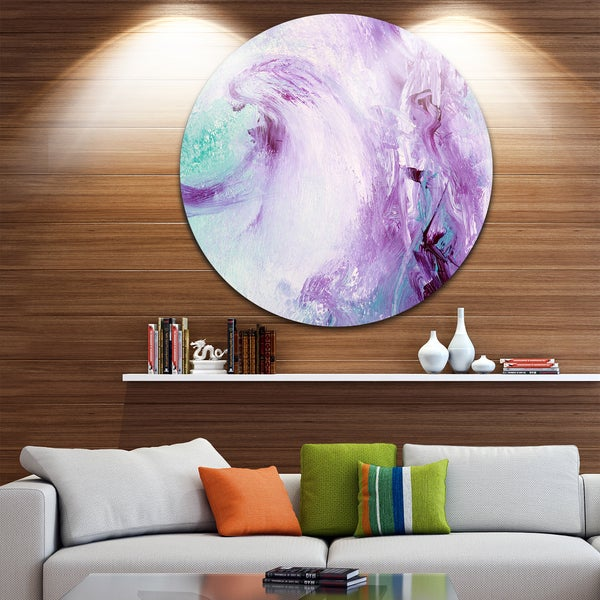 Designart 'Deep Colors' Abstract Glossy Large Disk Metal Wall Art