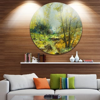Designart 'Green Yellow Forest' Landscape Glossy Large Disk Metal Wall Art