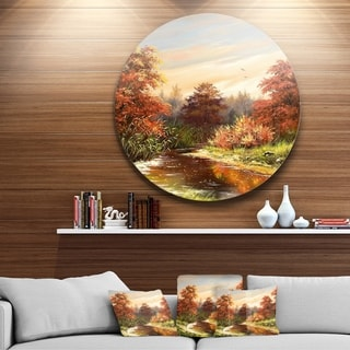 Designart 'The Red River' Landscape Glossy Large Disk Metal Wall Art