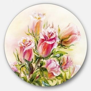 Designart 'Rose Oil Painting' Floral Glossy Large Disk Metal Wall Art