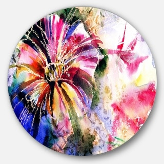 Designart 'Flowers in a Collage' Floral Glossy Metal Wall Art