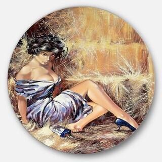Designart 'Girl Setting on Floor' Portrait Glossy Large Disk Metal Wall Art