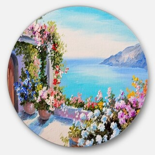 Designart 'Sea and Flowers' Landscape Glossy Large Disk Metal Wall Art