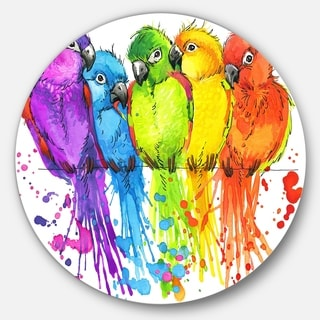 Designart 'Colorful Parrots Illustration' Animal Glossy Metal Wall Art