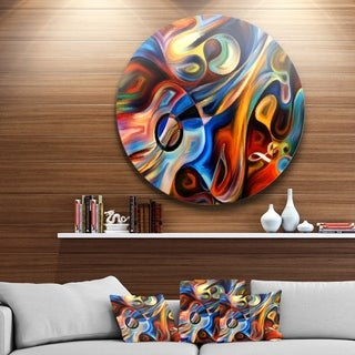 Designart 'Abstract Music and Rhythm' Abstract Glossy Circle Metal Wall Art (3 options available)