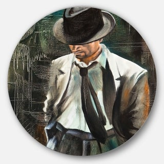 Designart 'The Gentleman' Portrait Glossy Large Disk Metal Wall Art