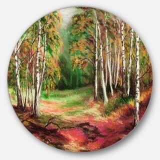 Designart 'Green Autumn Forest' Landscape Glossy Metal Wall Art