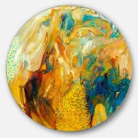 Designart 'Abstract Yellow Collage' Abstract Large Glossy Metal Wall Art