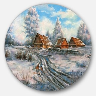 Designart 'Snow Village' Landscape Glossy Large Disk Metal Wall Art