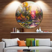 Designart 'Farewell to Autumn' Landscape Glossy Large Disk Metal Wall Art