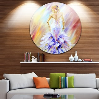 Designart 'Woman at the Ball' Portrait Glossy Large Disk Metal Wall Art