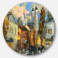 Designart 'Old City' Cityscape Glossy Large Disk Metal Wall Art