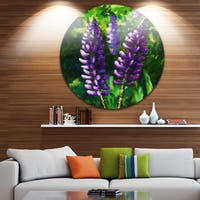 Designart 'Lupin Flowers' Floral Glossy Large Disk Metal Wall Art