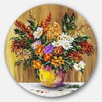 Designart 'Wild Flowers in a Pot' Floral Glossy Metal Wall Art