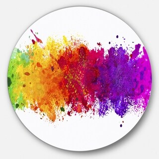 Designart 'Artistic Watercolor Splash' Abstract Glossy Metal Wall Art