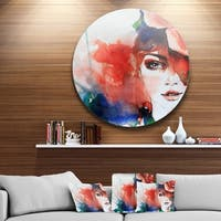 Designart 'Woman with Rose Illustration' Abstract Glossy Metal Wall Art