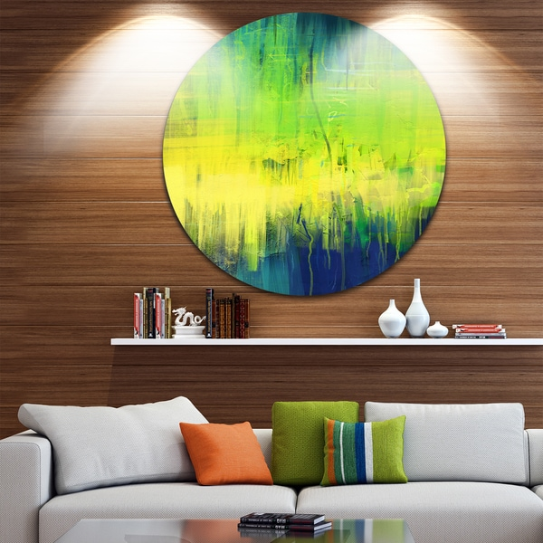 Designart 'Green Blue Fusion' Abstract Glossy Large Disk Metal Wall Art