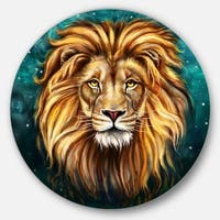 Designart 'Lion Head in Blue' Animal Glossy Large Disk Metal Wall Art