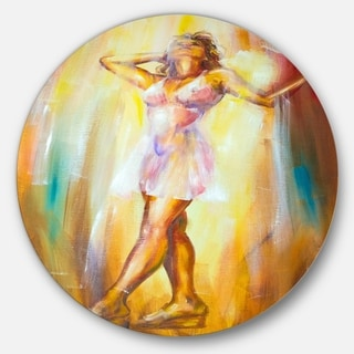 Designart 'Beautiful Woman in Dress' Portrait Glossy Large Disk Metal Wall Art
