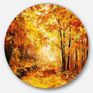 Designart 'Yellow Autumn Forest' Landscape Glossy Large Disk Metal Wall Art