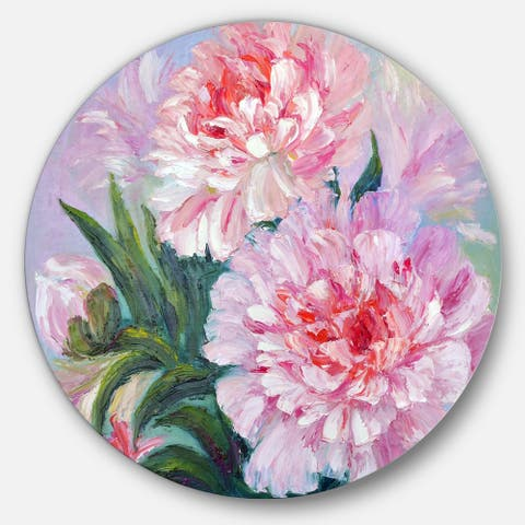 Designart 'Full Blown Peonies' Floral Glossy Metal Wall Art