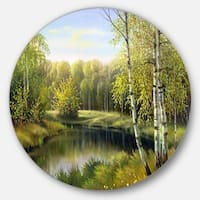 Designart 'Quiet Autumn River' Landscape Glossy Metal Wall Art