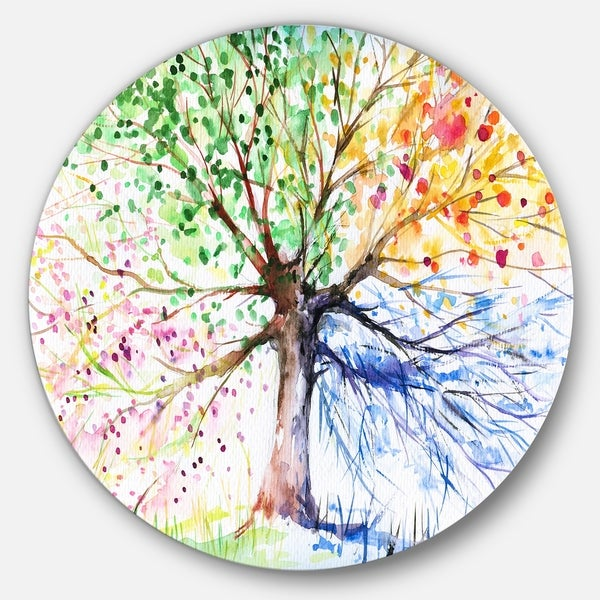 Designart 'Four Seasons Tree' Floral Glossy Large Disk Metal Wall Art